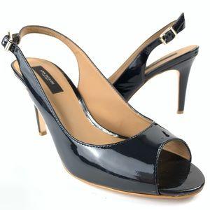 Ann Taylor black patent peeptoe slingback pump